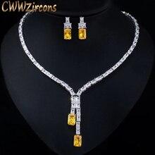 CWWZircons 眩しいアフリカ立方ジルコン女性の結婚式のネックレスジュエリーセットブライダルパーティーコスチュームジュエリーアクセサリー T374