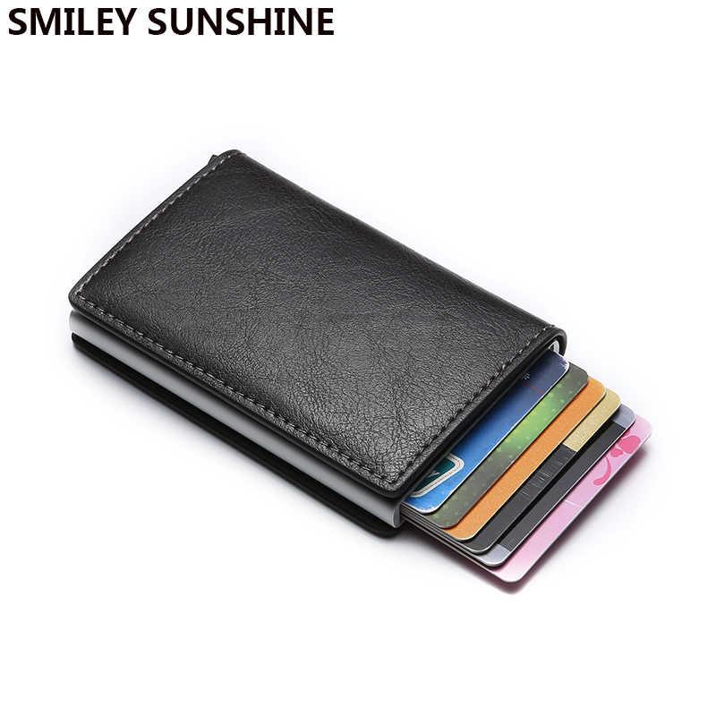 RFID ธุรกิจ Bank กระเป๋าถือ Travel MINI Slim กระเป๋าสตางค์ Anti-Theft อลูมิเนียมเงินสไลด์ผู้ถือบัตร Protector