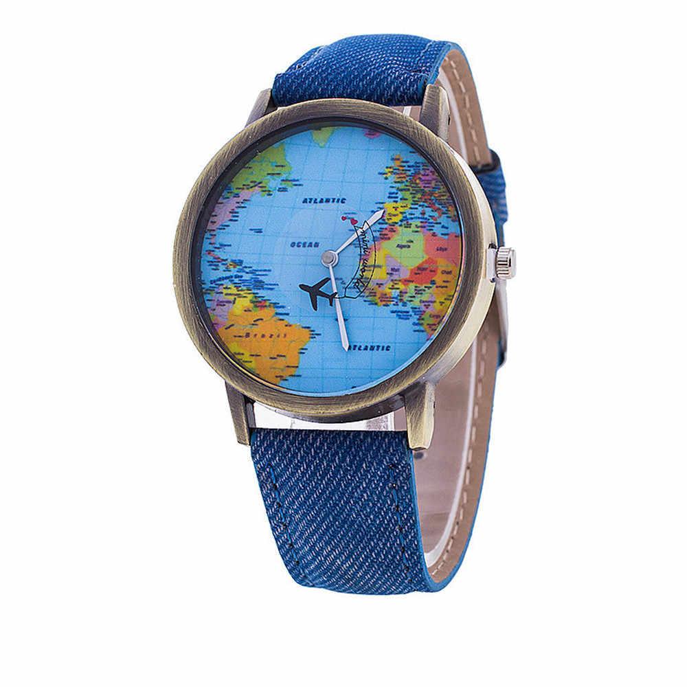 Kadın izle dünya haritası deri kayış tasarımı Analog Quartz saat roma dijital bayanlar saat saatler reloj mujer montre femme