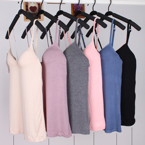 Women's Solid Color Camisole Tank Top With Built In Shelf Bra Spring Summer Adjustable Spaghetti Strap Sleeveless Padded Vests