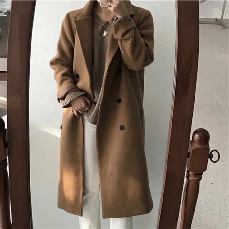 HziriP coréen Chic manteau femmes mode en laine Streetwear 2019 printemps chaud nouveau solide Long femme tout Match pardessus grande taille