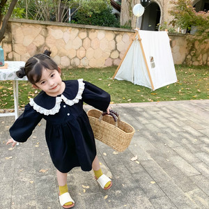 Image 4 - Spring New Arrival korean style cotton long sleeve princess dress with lace collar and sleeve for sweet cute baby girls