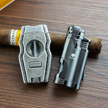 2 Jet Torch Cigar Lighter Cigar Cutter W