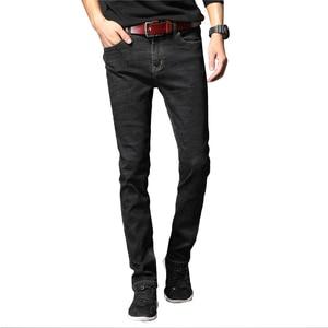Image 2 - 2019 Nieuwe Mannen Klassieke Jeans Elastische Skinny Effen Kleur Denim Jean Mannelijke Blauw Slim Fit Broek Merk Kleding