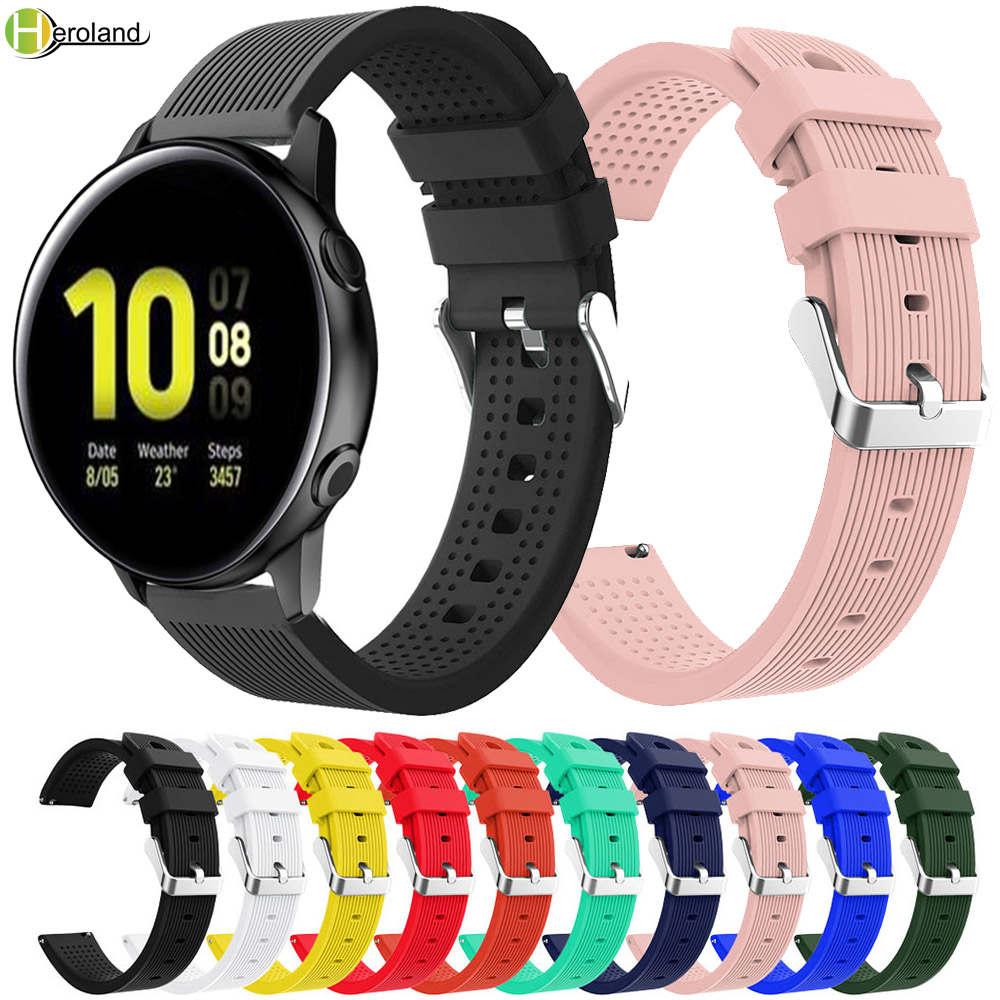 <font><b>20mm</b></font> WatchStrap <font><b>Silicone</b></font> For Samsung Galaxy watch active 2 40mm 44mm Smart <font><b>Bracelet</b></font> Sport Replacement wrist <font><b>band</b></font> Gear S2 Classic image
