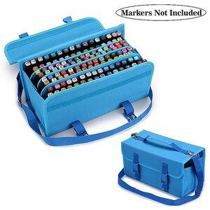 Складные маркеры большой емкости 120 слотов, чехол-ручка для художественных маркеров, сумка для хранения, прочный органайзер для инструменто...