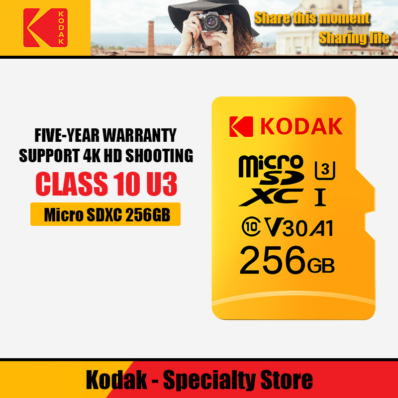100percent Kodak 32GB 64GB 128GB  256GB 512GB TF Micro SD card cartao de Memory Card class10 U3 Mini card