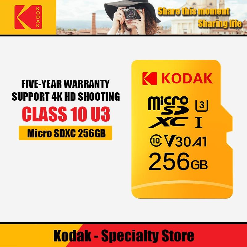 100% Kodak-tarjeta de memoria Micro SD de 32GB, 64GB, 128GB, 256GB, 512GB, TF, Clase 10, U3
