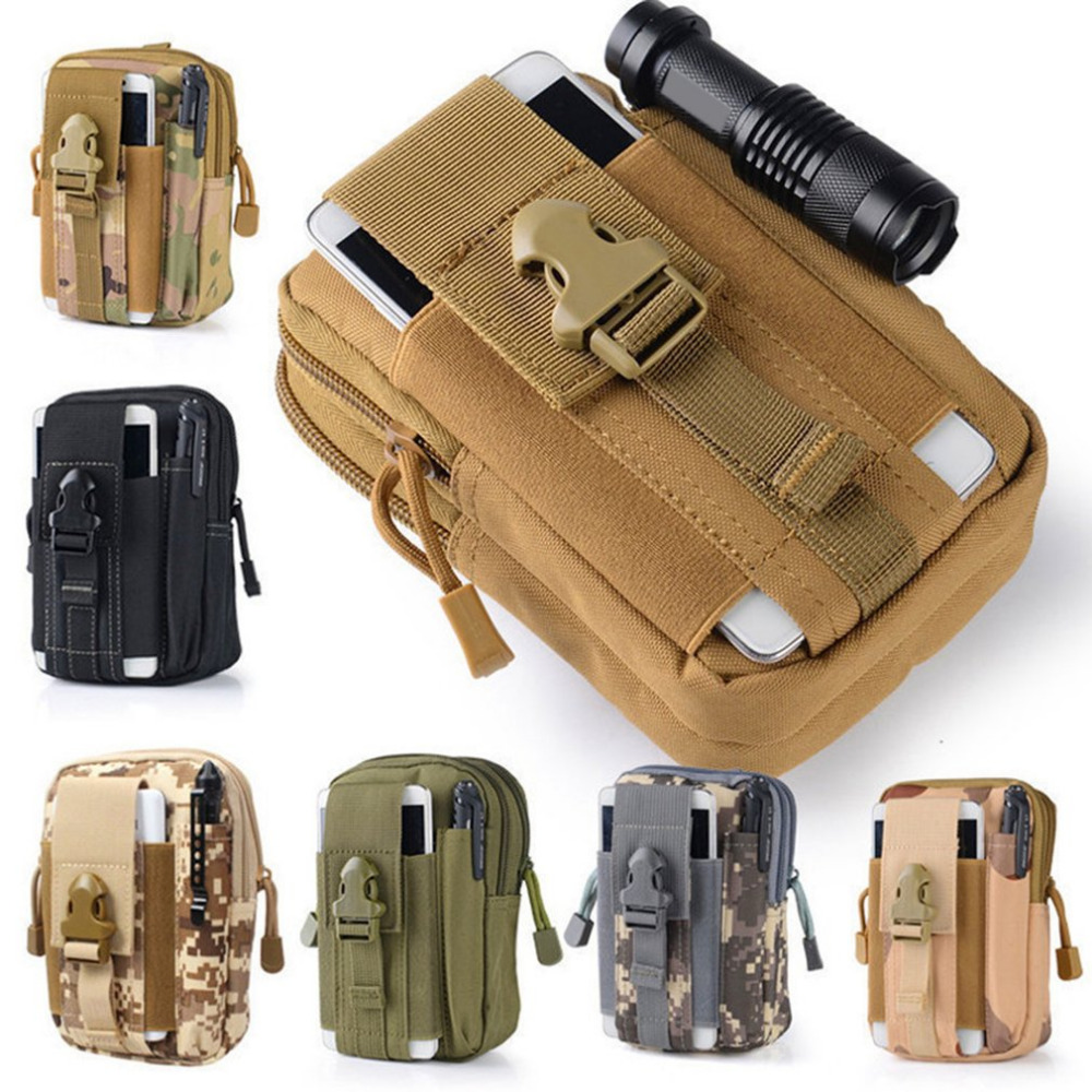 Mountaineering Bag Multi-Function Military Tactical Camouflage Pockets Mobile Phone Bag Outdoor Running Bag