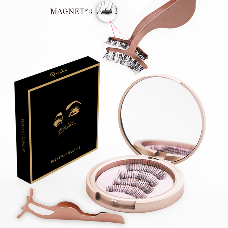 3 <font><b>Magnetic</b></font> <font><b>Eyelashes</b></font> Natural Handmade False Lashes 3D Natural Long Magnet Eye Lashes <font><b>Set</b></font> <font><b>And</b></font> Tweezer <font><b>Magnetic</b></font> Liquid <font><b>Eyeliner</b></font> image