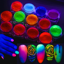1 коробка блестящее покрытие для ногтей флуоресцентный погружающийся порошок Неоновый красочный пигмент аксессуары инструменты для дизайна ногтей LYYE01-13