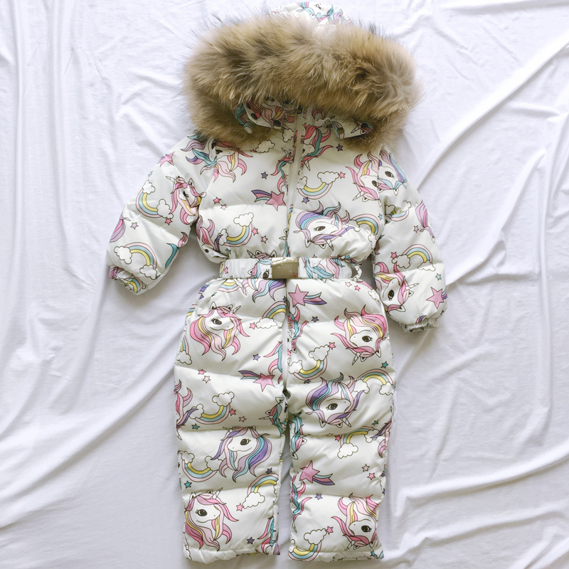 -35 Degree 2019 Children's Clothing Flamingo Baby Children's Teen Winter Jumpsuit Down Jacket Coat For Girl Boys Clothes