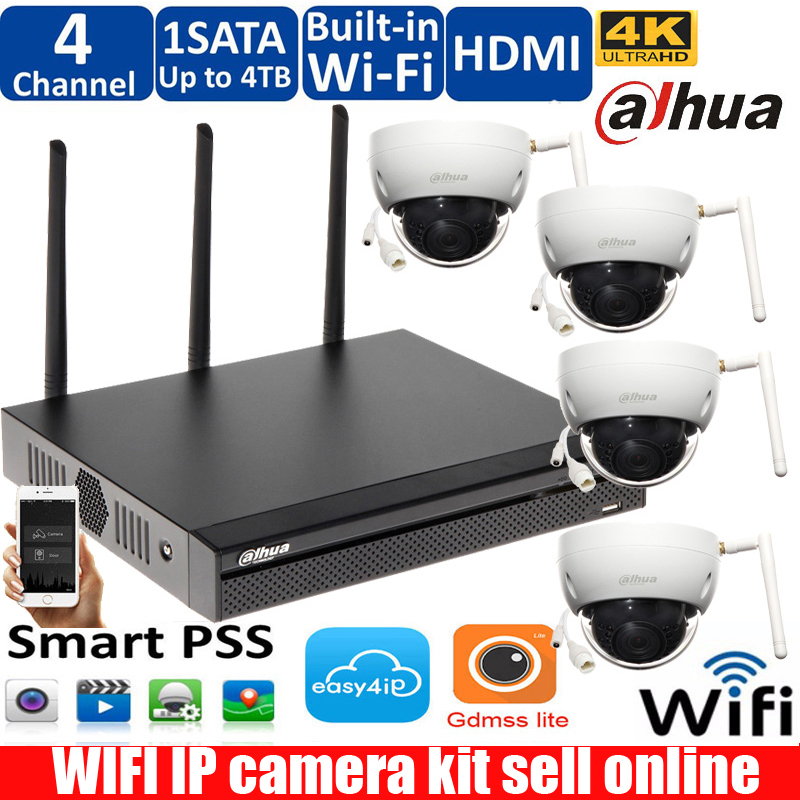 Dahua Wireless Wifi NVR4104HS-W-4KS2 Camera System With 4pcs 3MP DOME IP Wireless IR Night Vision Waterproof Outdoor Wifi Camera
