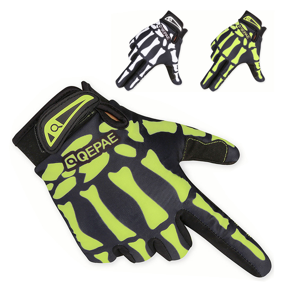 Cycling Gloves Qepae Odd Pearl Riding Long Finger Warm Gloves Bicycle Sports Outdoor Full Finger Skeleton Gloves
