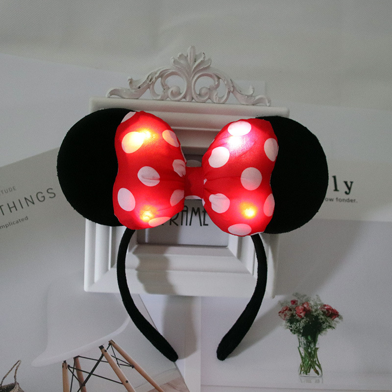 Disney Mickey Glow Headband Minnie Hairpin Flash Child LED Lighted Hair Accessories Mickey Mouse Colorful Headband Hot Sele