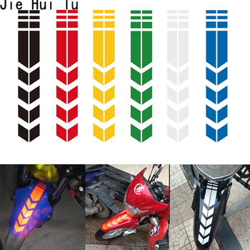 Universal Motorcycle Reflective Stickers Wheel on Fender Waterproof Safety Warning Arrow Tape Car Decals image
