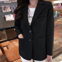 Женский однобортный пиджак свободный офисный с длинным рукавом