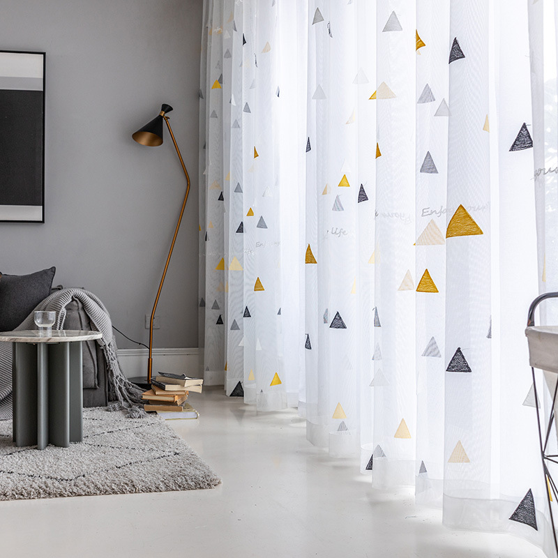 Nordic Style Triangle Tulle Curtains for Children's Bedroom Kids Window Treatments Sheer for Living Room Finished Customization