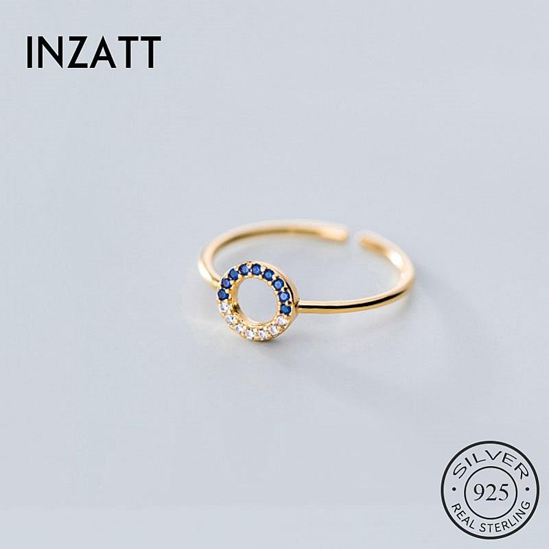 INZATT Real 925 Sterling Silver Zircon Round Adjustable Ring For Fashion Women Party Cute Fine Jewelry Minimalist Accessories
