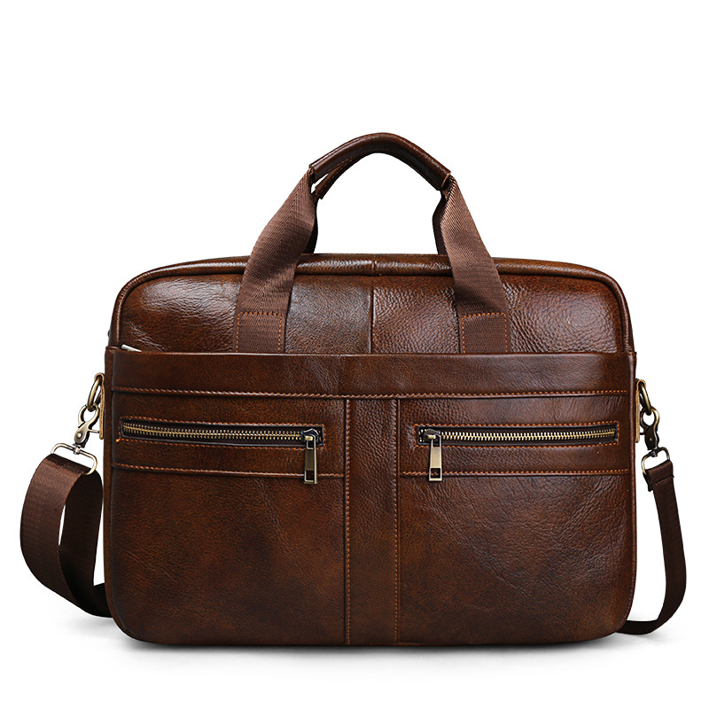 Cowhide Leather Laptop Briefcase Mens Genuine Leather Handbags Crossbody Bags Men's High Quality Luxury Business Messenger Bags
