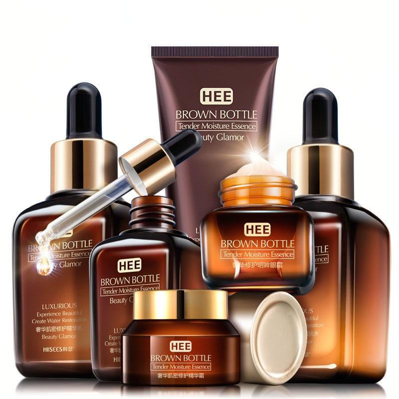 Set de cuidado de la piel botella marrón pequeña Crema para Ojos con esencia de tóner Facial loción antiedad Retinol Serum Facial Cleanser Cosmetics Kit Q