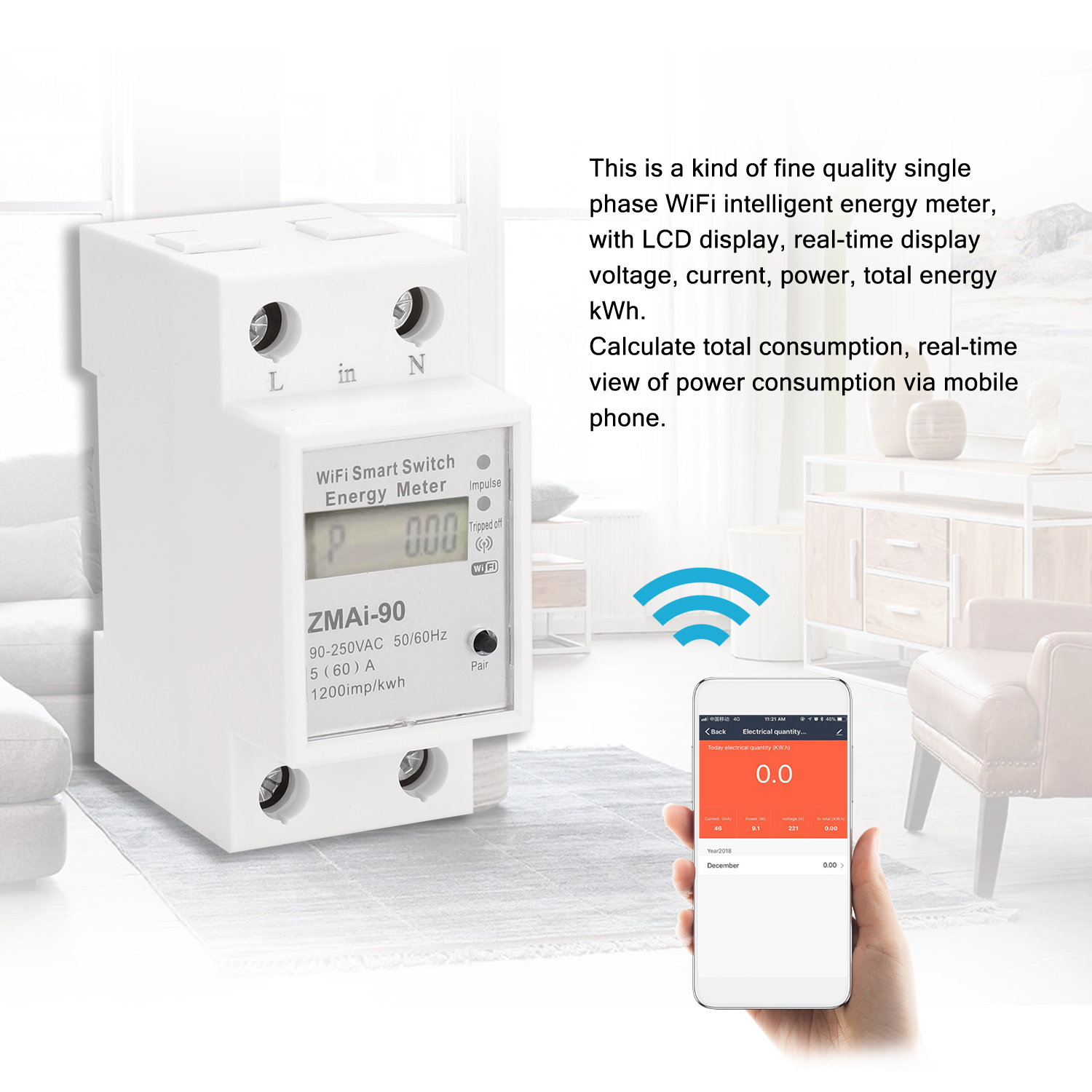 Meter LCD Smart Display Works Tuya Rail With Energy Smartlife WIFI Google Phase Single Support Type Meter Energy Home App Alexa
