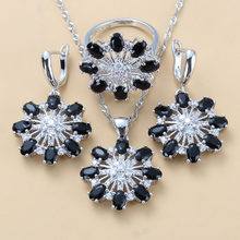 Impressive Occident Style Black CZ Flower Big Jewelry Sets 925 Sterling Silver Dangle Earring Necklace And Ring Jewelry Sets(China)