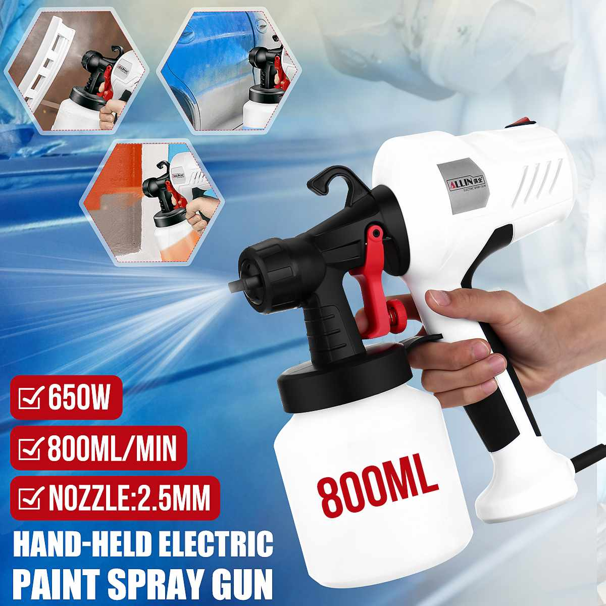 2.5MM Nozzle Spray Guns Paint 650W 220V 800ML High Power Spray Guns Home Electric Paint Sprayer Easy Spraying Clean