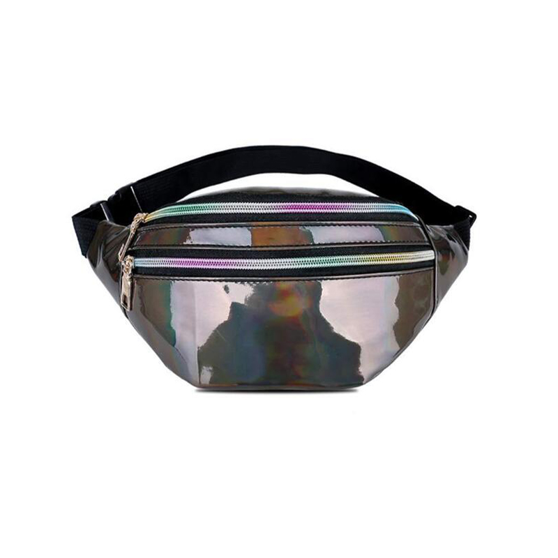 UOSC Holographic Fanny Pack Women Silver Laser Bum Bag Travel Shiny Waist Bags Fashion Girls Pink Leather Hologram Hip Bag