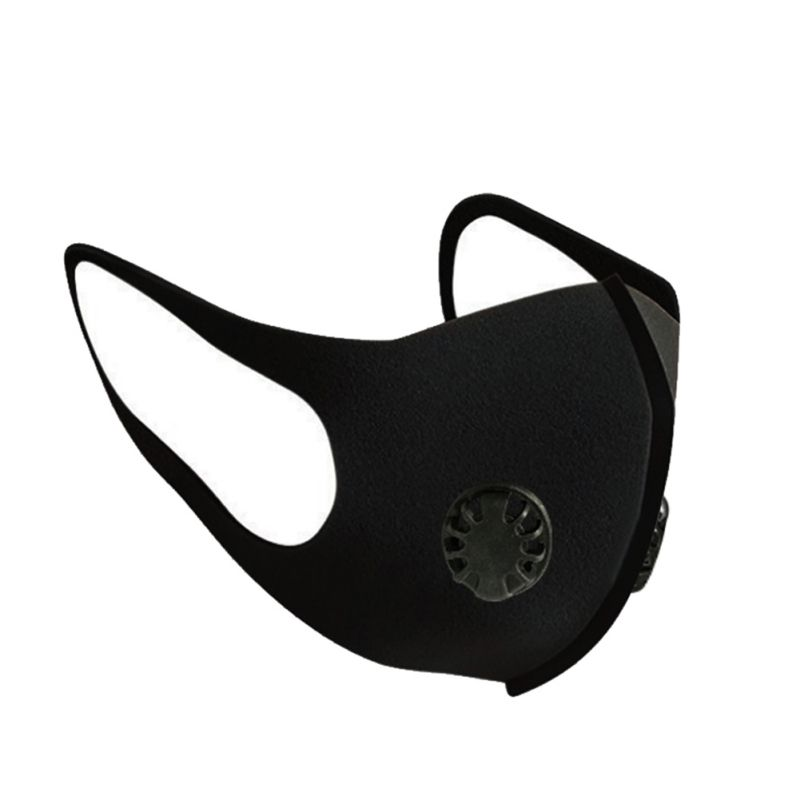 Y High Quality Multifunctional 3D Mesh Soft Black Mask With Double Breathing Valve And Filter Pad