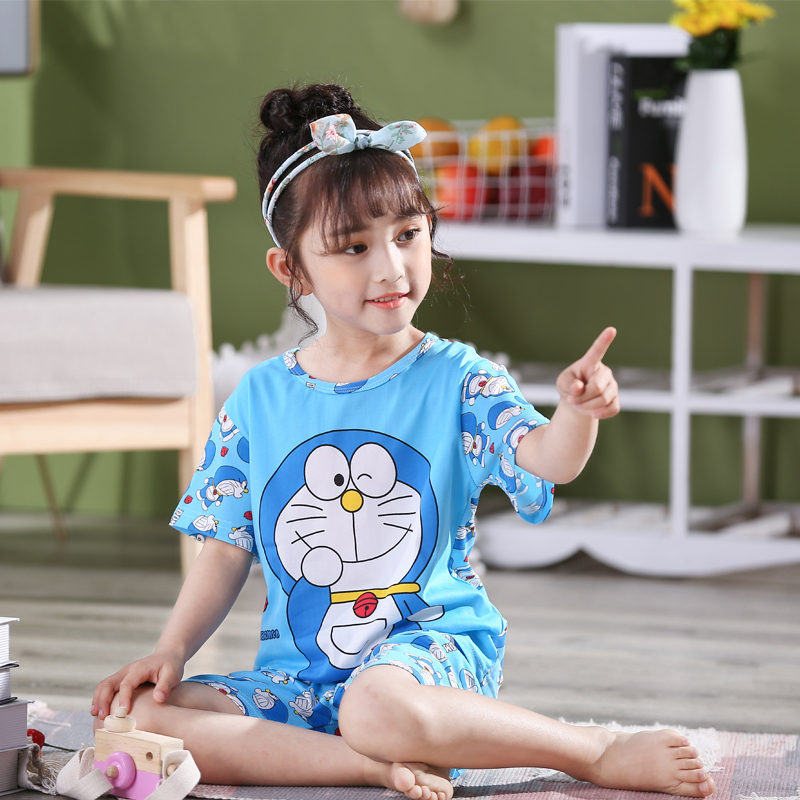 New 2020 Summer Children's Clothing Set Cartoon Short Sleeve Kids Pajamas Unisex Polyester Girls Sleepwear Cute Boys Pajamas Set image