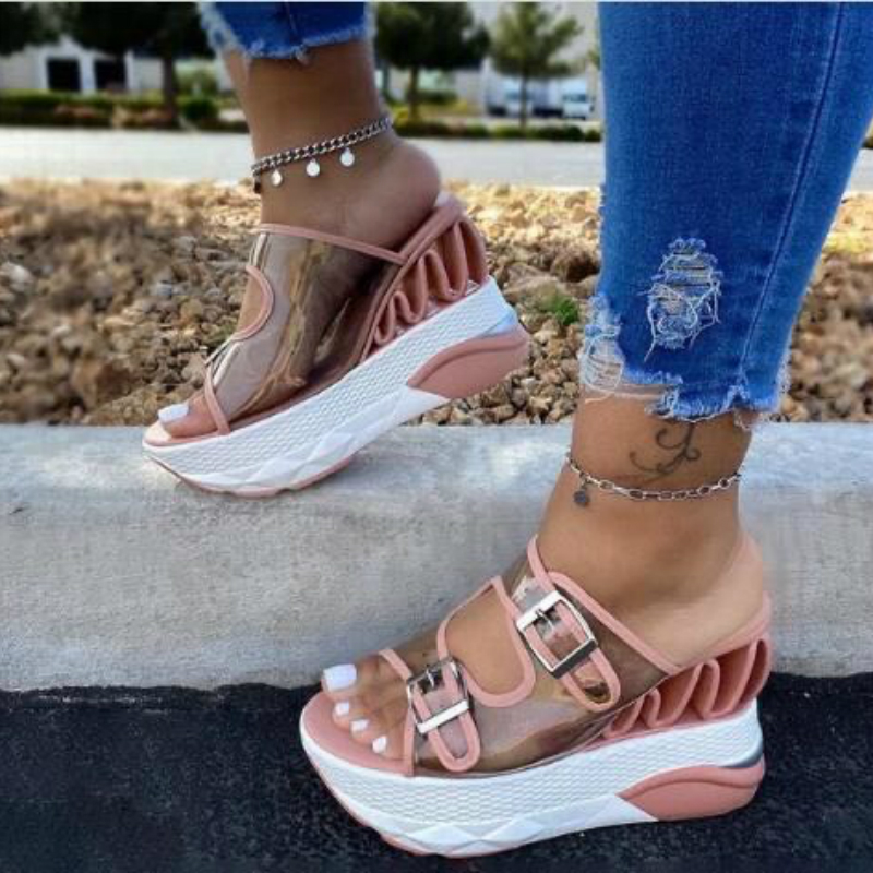 Women Summer Wedges Sandals Increase Height Platform Peep Toe Patchwork Fashion Beach Outdoor Ladies Shoes Zapatos De Mujer