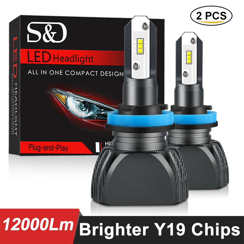 Fanless Car Headlight Bulbs H4 LED H7 H1 H3 H8 H9 H11 9005 9006 880 881 H27 HB3 HB4 12000lm 4300K Yellow Fog Light Driving Lamp
