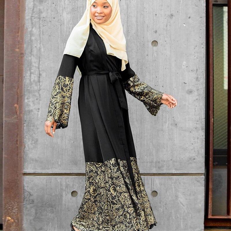 Black Lace Kimono Abaya Dubai Turkish Islam Hijab Muslim Dress Kaftan For Women Qatar Caftan Marocain Jilbab Robe Ramadan Elbise