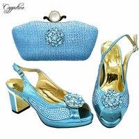 High Class Sky Blue Set Matching African Pump Shoes With Bag Set Elegant Shoes And Handbag 688 9 Heel Height 8CM