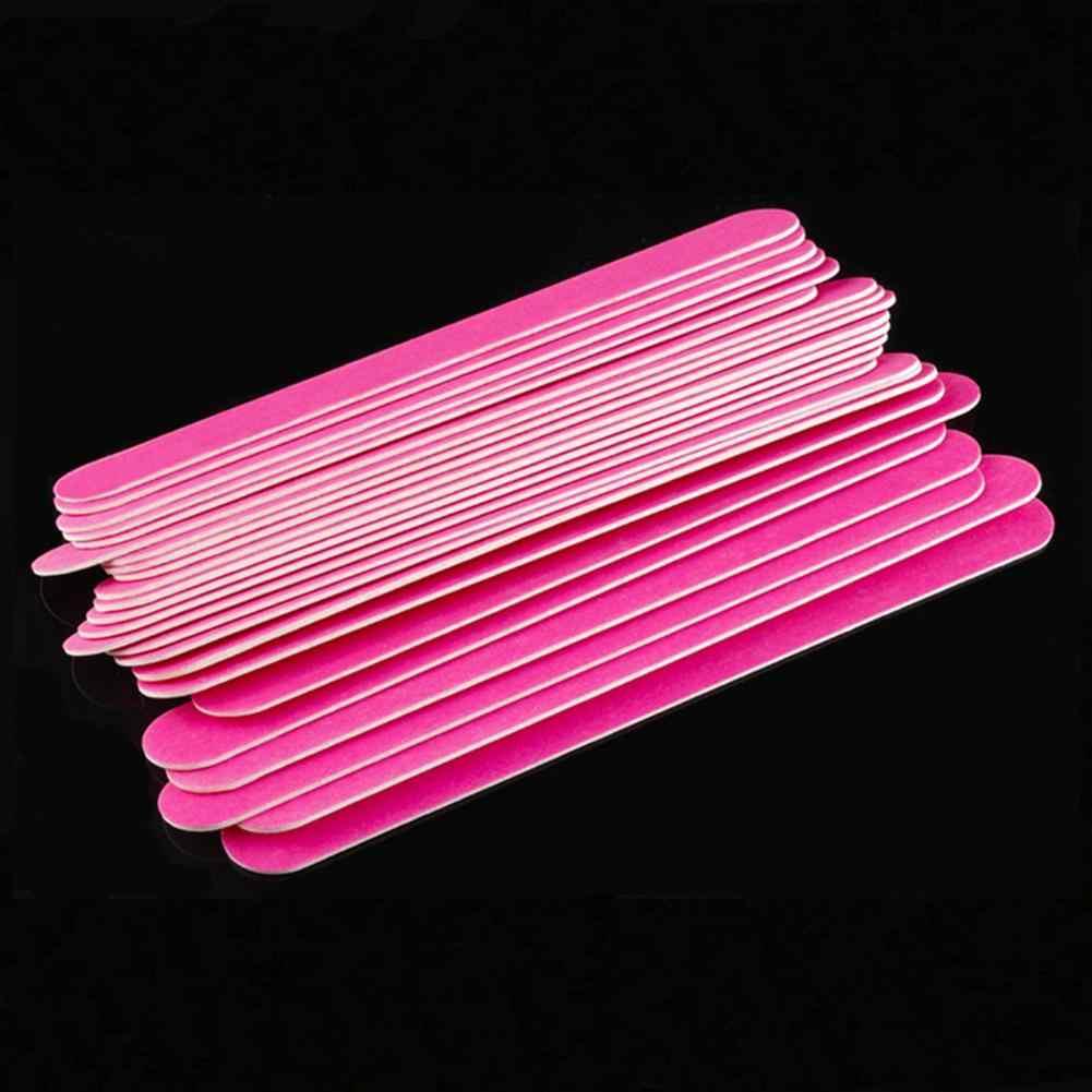 10 pièces Mini limes à ongles en bois jetable rouge blanc ponçage polissage tampon Salon manucure pointe Nail Art outil manucure ensemble