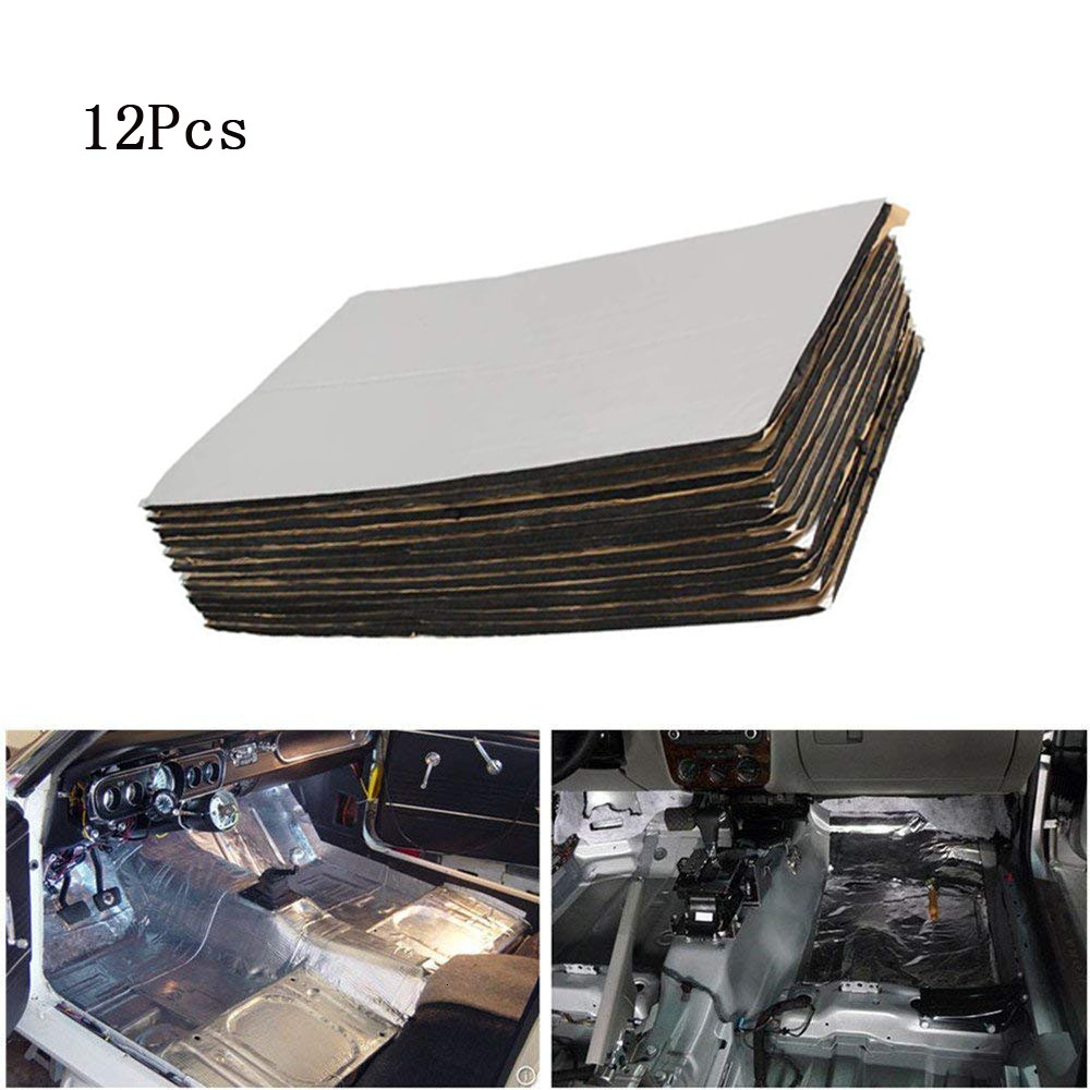 OHANEE 12pcs 50*30cm Firewall Car Sound Deadening Deadener Acoustic Car Heat Shield Insulation Noise Soundproof Bloack Proofing