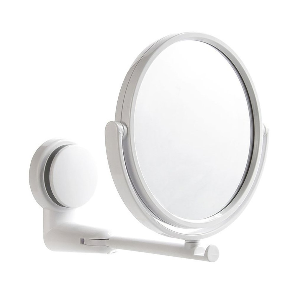 Dormitory Wall-mounted Vanity Mirror Foldable Rotating Single Mirror Home Bathroom Free Punching HD Round Vanity Mirror