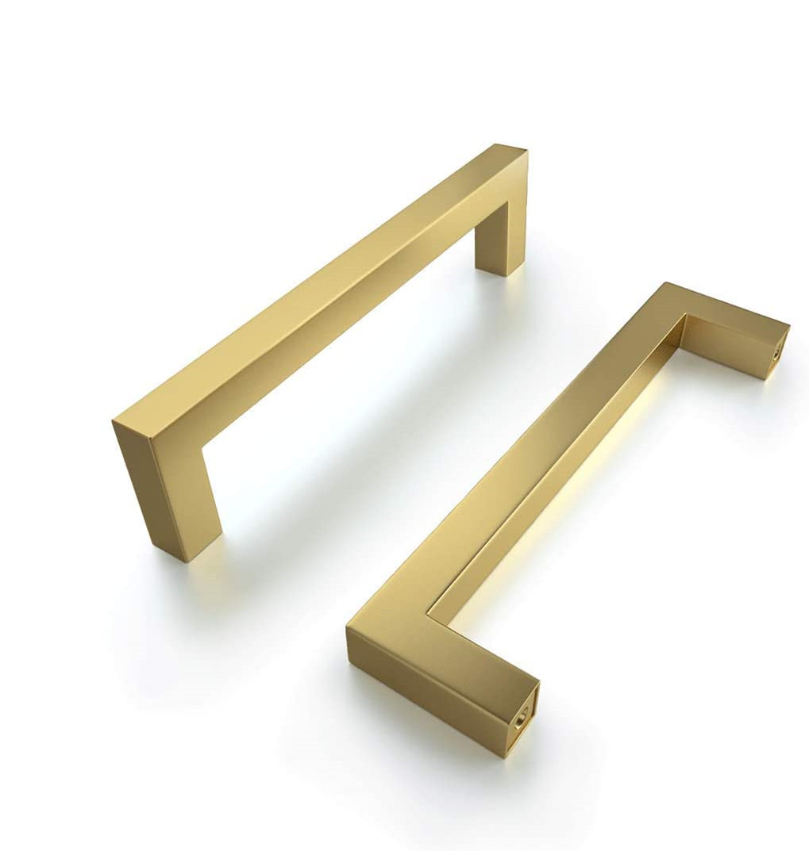 Золотой квадратный ручки шкафа матовый латунь Кухня современных Ящик дверные ручки для мебели шкаф ручки для ящика шкафа
