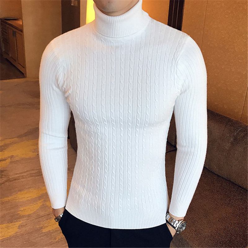 Sweater Men Knitwear Jumper Turtleneck Slim-Fit Twist Double-Collar Male High-Neck Winter title=