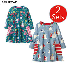 SAILEROAD 2 Sets Kids Floral Dresses For Girls Long Sleeve Princess Dress Children Clothes Baby Girl Party Dress Spring Autumn spring autumn cute baby kids girls party dress kids clothes cotton toddler girl clothing long sleeve baby girl princess dress