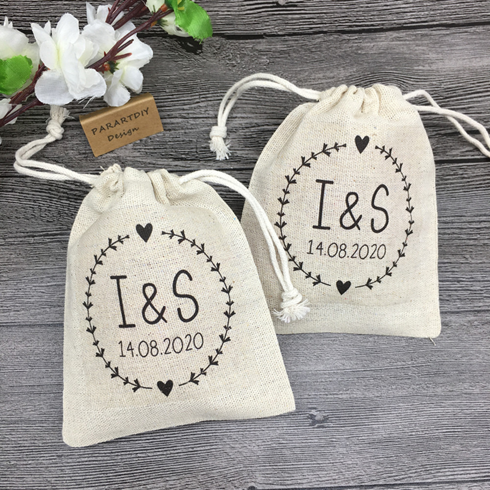 Personalize Names Date Wedding Bachelorette Bridesmaid Hangover Kits Jewelry Gift Bags Drawstring Muslin Pouches Party Favors