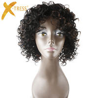 X-TRESS Afro Kinky 12inch Short Curly Synthetic Wigs With Bangs Natural Black High Temperature Fiber African Hairstyle For Women