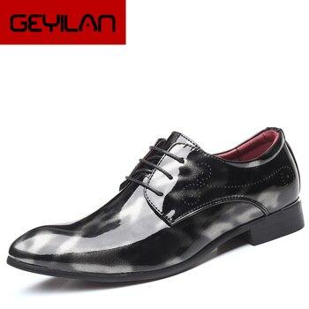 2019 formal shoes men dress loafers patent leather italian shoes men wedding shoes men elegant classic party oxfords
