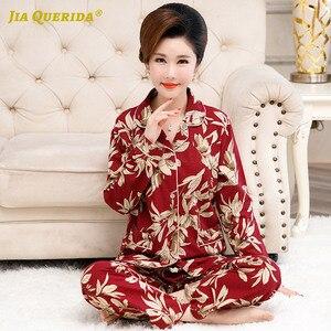 Image 3 - Skręcić w dół kołnierz Homesuit Homeclothes długi rękaw długie spodnie drukowanie piżamy piżamy piżamy zestaw Pj zestaw piżamy dla kobiet