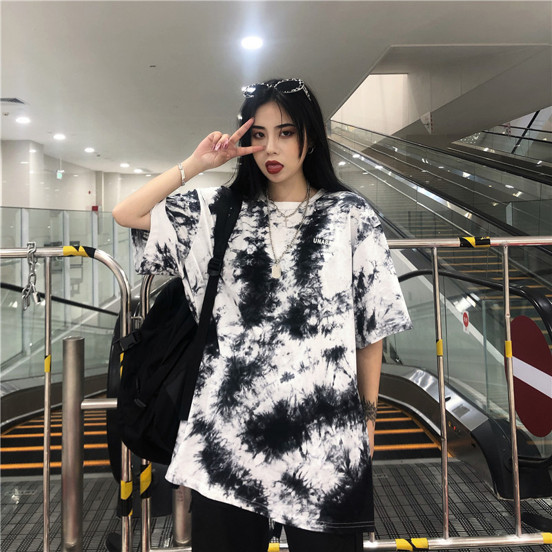 Harajuku Short-Sleeved Female Summer T-Shirt Hip-Hop Gradient Tie-Dye Loose Tee Thirt Mid-Length Korean Casual Tshirt