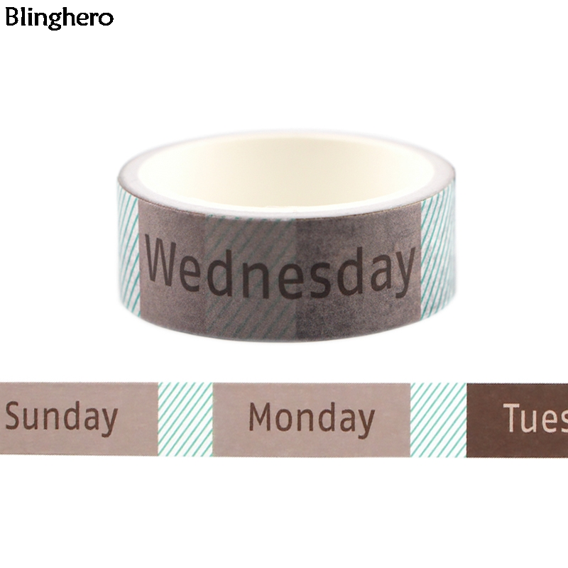 Blinghero 15mmX5m Week Print Washi Tape Sunday Monday Masking Tape Fashion Adhesive Tapes Cool Decal Gift For Students BH0406