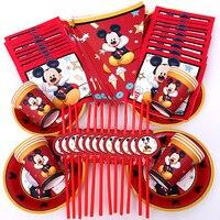68 шт подходит для 12 человек Микки Маус вечерние красный Микки праздничный набор столовой посуды Дети День рождения украшения