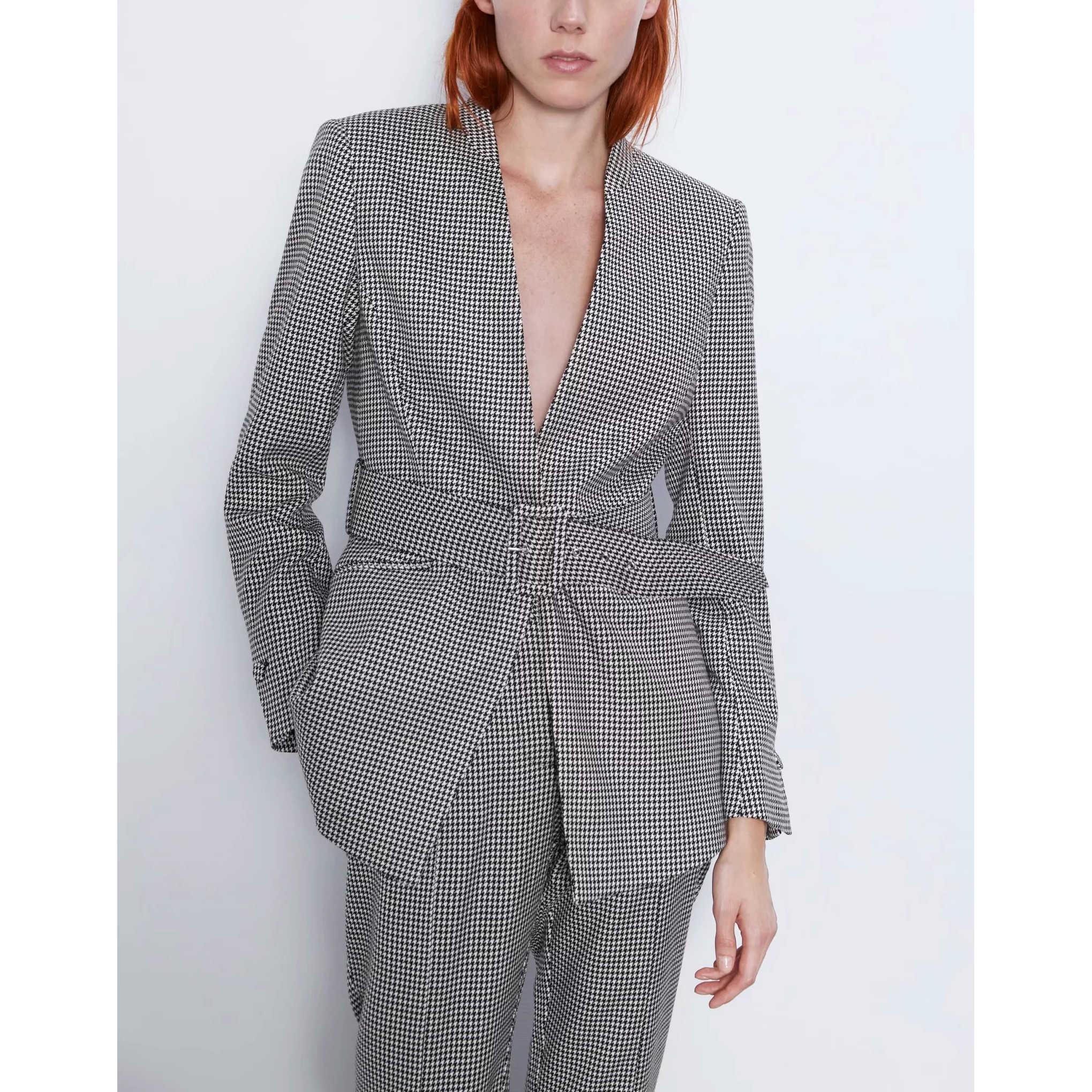 Casual plaid suits mujer blazer-set cintura manga completa superior y pantalones acampanados elegante Oficina lady coat femme suits