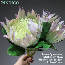INDIGO  2 pcs Luce Viola Protea cynaroides di Grandi Dimensioni Real Touch Fiore Artificiale Del Fiore di Cerimonia Nuziale Del Partito di Evento Dropshipping
